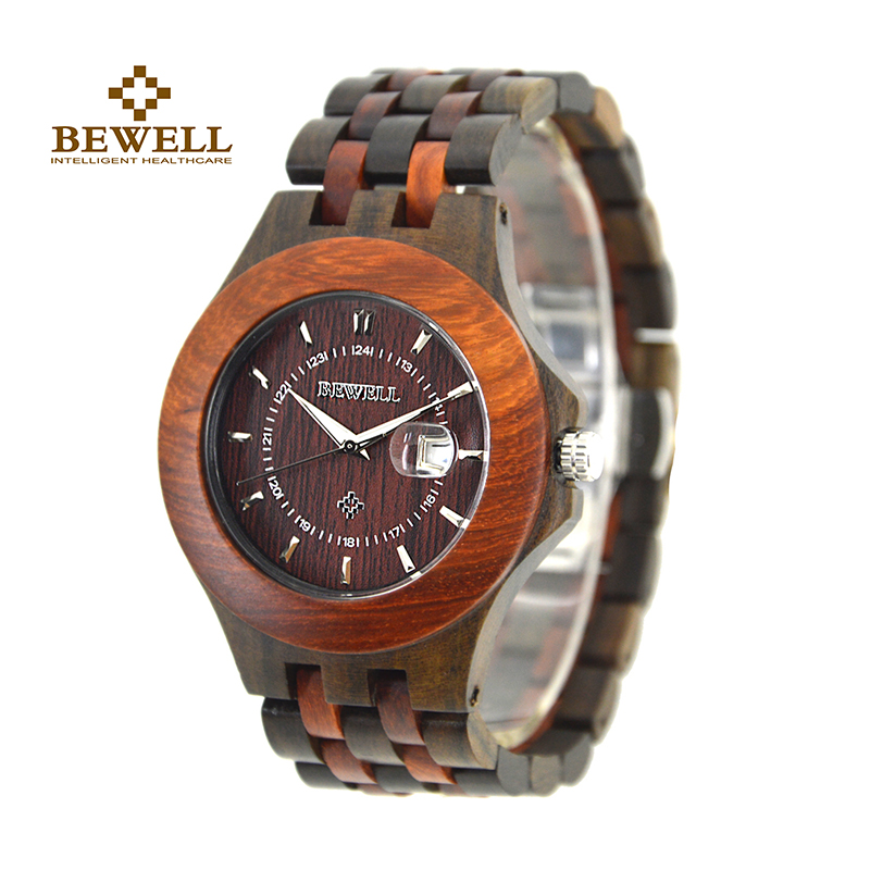 BEWELL Mens Watch Handmade Wooden Watch Natural Wood Classic Luxury Design Wood Watch Calendar Display Fashion Simple Style 080BEWELL Mens Watch Handmade Wooden Watch Natural Wood Classic Luxury Design Wood Watch Calendar Display Fashion Simple Style 080