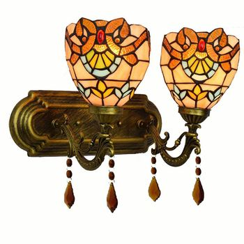 Tiffany Alloy Resin Bedroom Bedsides Wall Lamp Mediterranean Colorful Glass Lampshade Stair Case Tawny Crystal Wall Lights