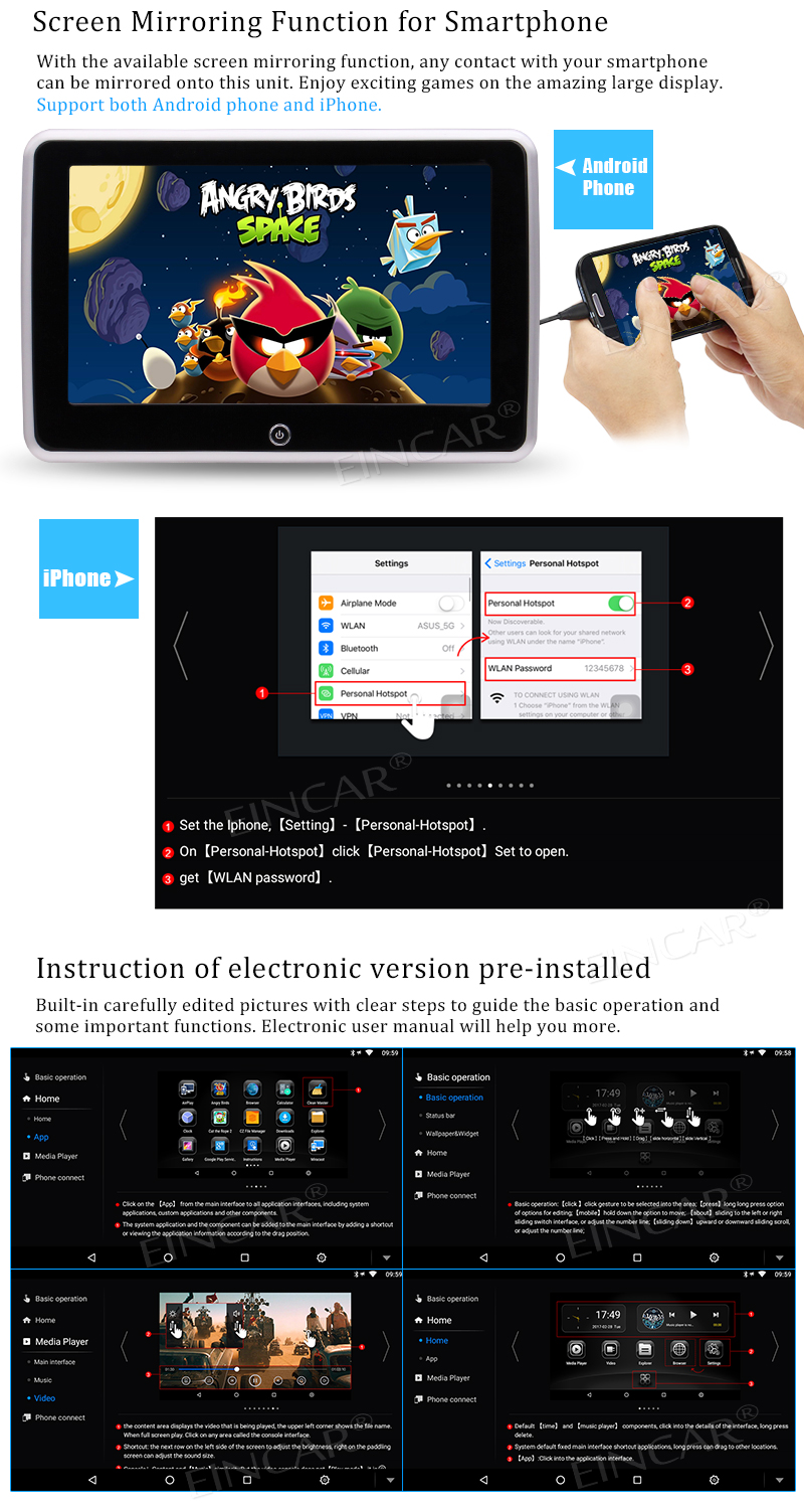 Android6.0 10.1″ Headrest Video Player HD 1080P LCD Screen Backseat Monitor with HDMI Wifi Mirrorlink Car Charger Free Headphone