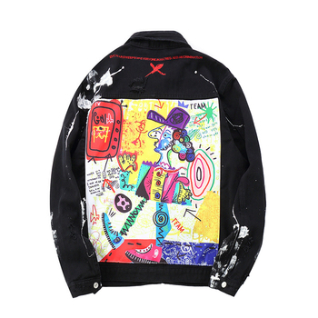 Sokotoo Men's loose doodle printed patchwork jean jacket Trendy streetwear painted ripped denim coat Black top outerwear