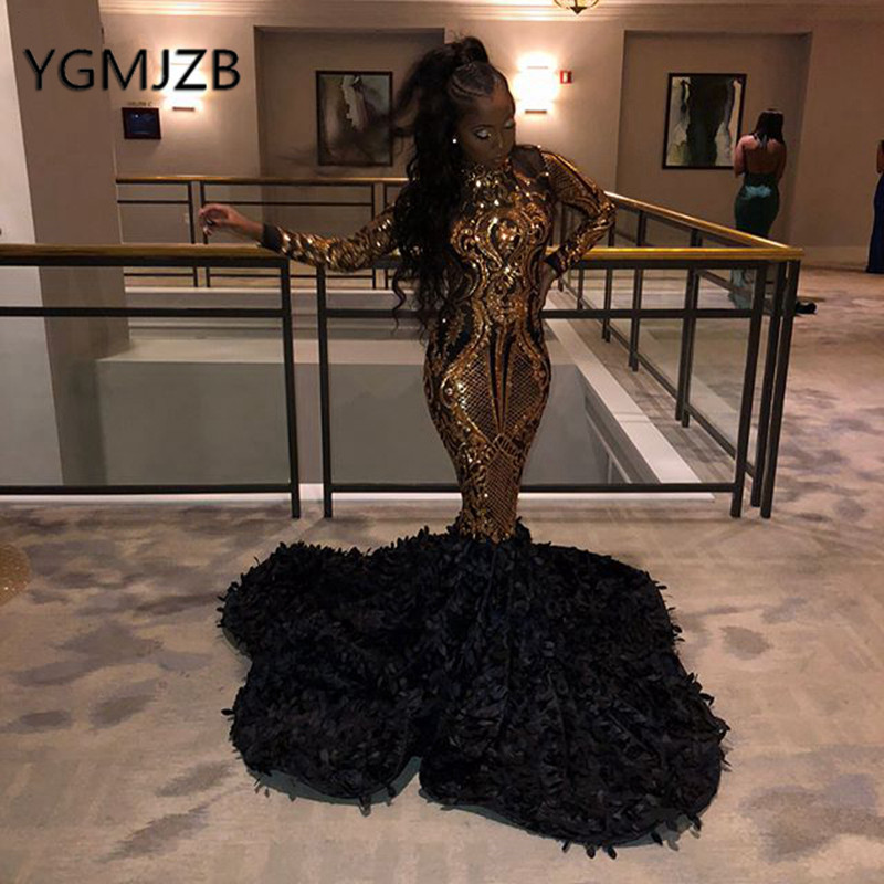 African Mermaid Evening Dresses Gold Sequin Prom Gown 2019 High Neck Long Sleeve Flowers Train Black Girl Party Dress
