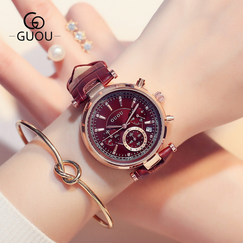 GUOU Brand Fashion 3 Eyes Waterproof Leather Analog /w Calendar Quartz Wristwatches Wrist Watch for Women Girls Black Purple fashion vintage big number magic leather strap quartz analog wristwatches watch for women ladies girls black brown blue