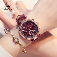 GUOU Brand Fashion 3 Eyes Waterproof Leather Analog /w Calendar Quartz Wristwatches Wrist Watch for Women Girls Black Purple