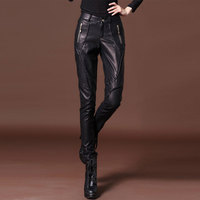 Women Fashion PU Patent Leather Long Pants High Waist Zipper Punk Pants Velvet Faux Leather Trousers Ladies Skinny Pencil Pants