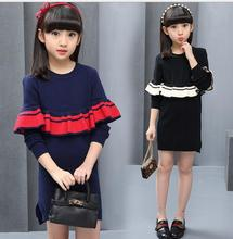 Lotus leaf sweater 2017 Spring Girl Split skirt pullover  Knit Sweaters  O-Neck Striped Fashion Clothes Draped For Children S079