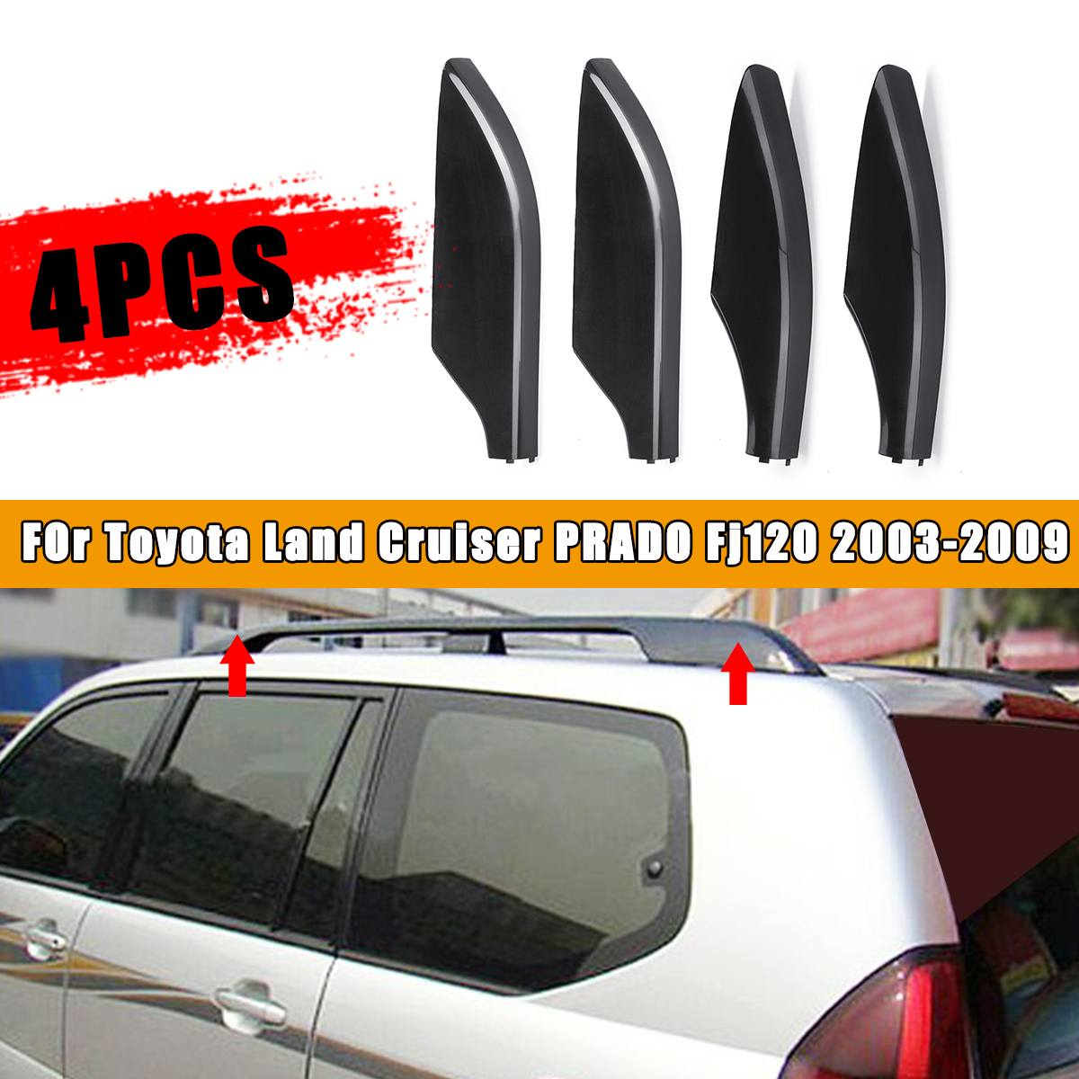 For Toyota Prado FJ120 2003-2009 Car Top Mounted Roof Rack Rails Bar Tail cover