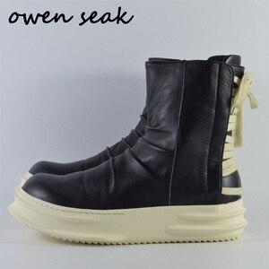 2018 nowy Owen Seak damskie buty wysokiej góry kostki buty z prawdziwej skóry tenisówki luksusowe trenerów Casual Lace-up Zip płaskie czarne buty