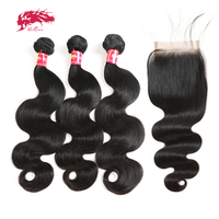 Ali Queen Hair Products Brazilian Virgin Hair Body Wave 3 Bundles With Swiss Lace Closure Free/Middle/Three Part Human Hair