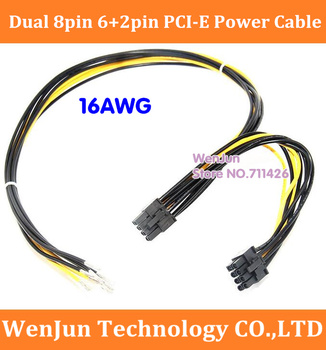 Free Shipping Dual PCIe PCI-E 8pin 6+2pin Graphics Video Card Power Cable 16AWG for Bitcoin Litecoin RIG Miner 8pin+8pin cable