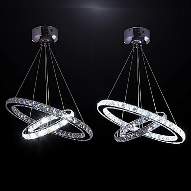 60CM Contemporary Modern LED Crystal Pendant Light Lamp with Two Rings,Lustre De Cristal Sala Teto noosion modern led ceiling lamp for bedroom room black and white color with crystal plafon techo iluminacion lustre de plafond