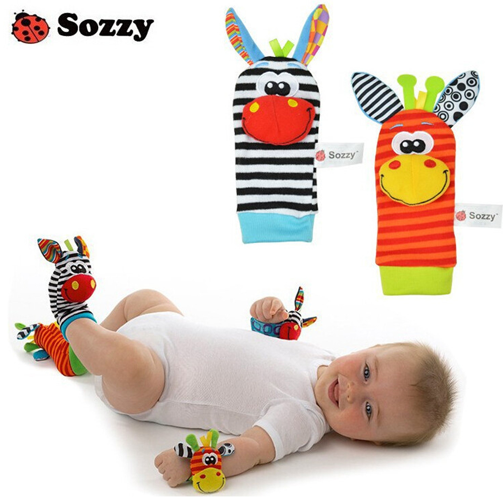 Hot sale SOZZY Baby Toy Baby Rattles Toys Animal Socks Wrist Strap With Rattle Baby Foot ...