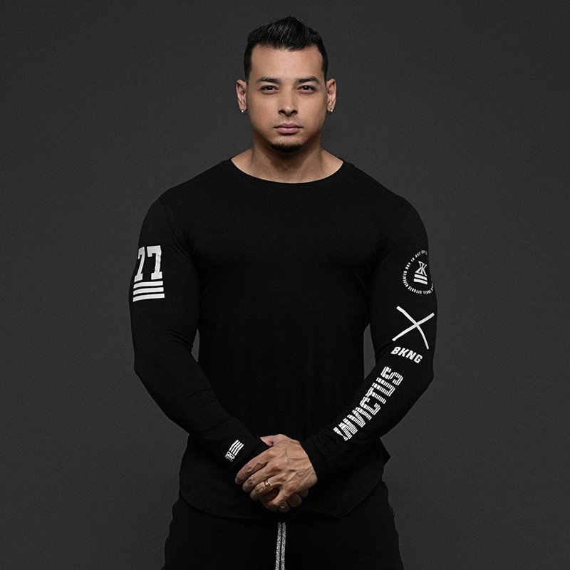 Мужские Облегающее с длинными рукавами рубашки Повседневная модная футболка с принтом Мужские тренажеры фитнес тренировки черная футболка Топы Одежда для кроссфита