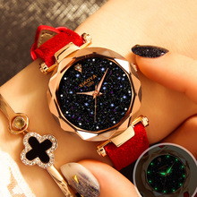 Relogio Feminino Luxury Brand Quartz Watch Women Starry Sky Watch Leather Fashion Casual Rhinestone Ladies Watch Clock Female недорого
