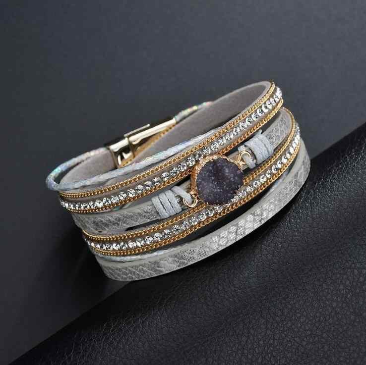 Hot Vintage kamień kryształ Charm bransoletki i Bangle dla kobiet mężczyzn mody kobiet Handmade wielowarstwowe skórzana bransoletka bransoletka