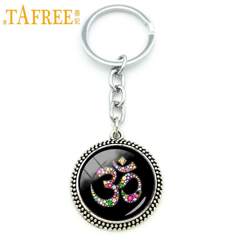 TAFREE Fashion Indian style keychain Om Ohm Aum Namaste Yoga Symbol pendant key chain ring holder vintage women jewelry KC481