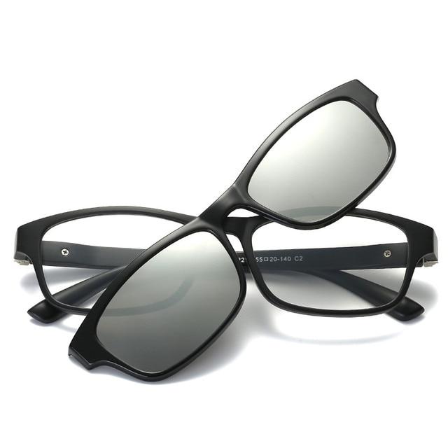 Hommes et femmes prescription lunettes TR90 verres myopes miroir aimants  lunettes de soleil ensembles, prescription 94ac25a7894d