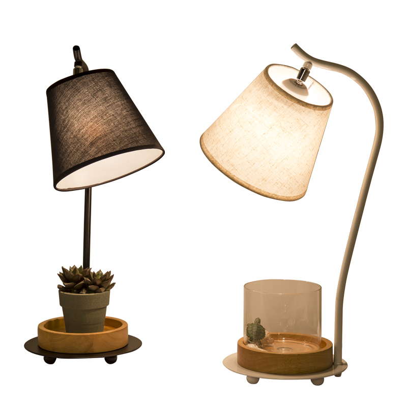 T Fashion Creative Loft Warm Iron Table Lamps Retro Plant Vase Lighting For Bedroom Foyer Hotel Home With LED Bulb