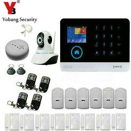 YobangSecurity Touch Keypad WIFI 3G GPRS RFID Home Alarm System App Control Video IP Camera Wireless Siren Smoke Fire Detector yobangsecurity touch keypad wireless wifi gsm home security burglar alarm system wireless siren wifi ip camera smoke detector