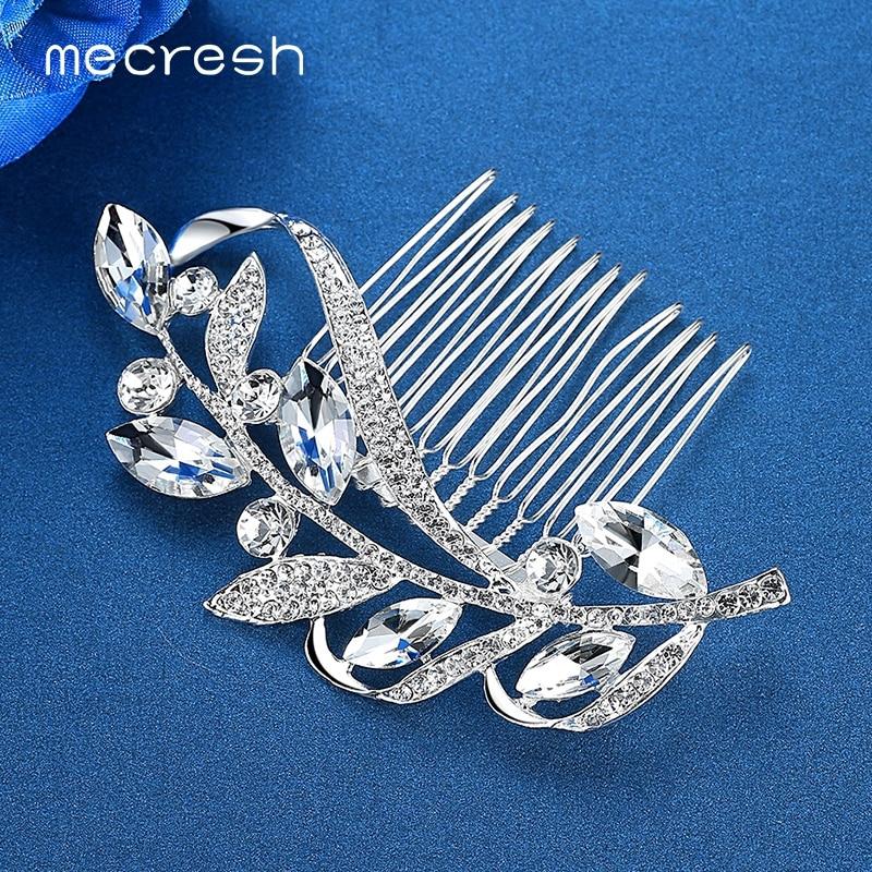 Mecresh Silver Color Rhinestone Flower Leaf Bridal Hair Comb for Girls Crystal Hair Ornaments Jewelry Wedding Hair Accessories 3