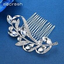 Rhinestone Flower Leaf Bridal Hair Comb