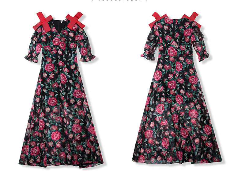 See Orange Florals Summer Dress 2018 Women Dress Sexy V Neck With Red Bow Black Dress 4D Chiffon Holiday Beach Dress SO7761