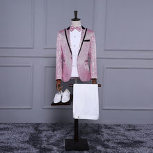 Mens Pink Purple Sequins Paillette Suits Stage Singer Wedding Grooms Slim Fit Gentleman Tuxedo Party Prom Costume Homme(China)