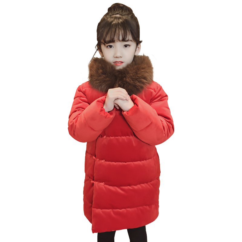 2018 Fashion china Style cheongsam Children's Jackets Coats Solid Girls Warm Winter Coat Down Jacket Children Jacket 4-13Y Hot цена 2017
