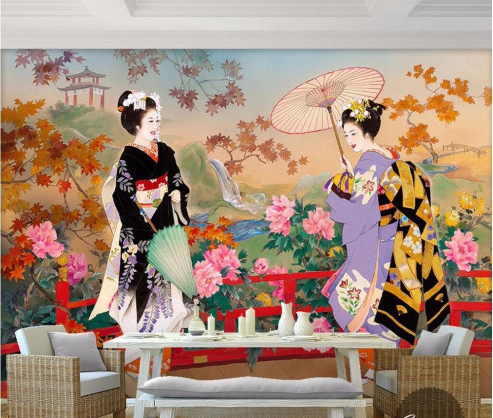 Custom Mural Photo 3d Wall Paper Flowers Among Japan's Beautiful Belle Decor Painting 3d Wall Murals Wallpaper For Wall 3 D