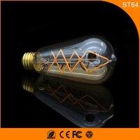 50 шт. ST64 6 Вт светодиодные лампы Ретро Винтаж Эдисон, E27 B22 накаливания светодиодные Стекло свет лампы, теплый белый Энергосберегающая Лампы д