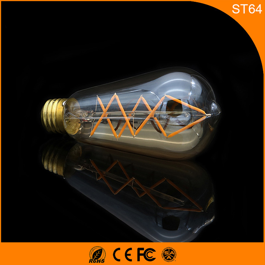 50PCS ST64 6W LED Bulb Retro Vintage Edison  ,E27 B22 Led Filament Glass Light Lamp, Warm White Energy Saving Lamps Light AC220V 5pcs e27 led bulb 2w 4w 6w vintage cold white warm white edison lamp g45 led filament decorative bulb ac 220v 240v