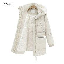 FTLZZ зимние женские шерстяные куртки размера плюс, длинное пальто с хлопковой подкладкой, тонкие парки с капюшоном, женская теплая куртка, верхняя одежда
