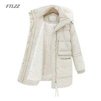 FTLZZ 2019 Winter Women's Wool Jackets Plus Size Cotton Padded Long Coat Slim Hooded Parkas Female Warm Jacket Outwear Clothing