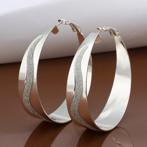 2017 Fashion New Wide 925 Silver Alloy Women Large Hoop Earrings For Y S