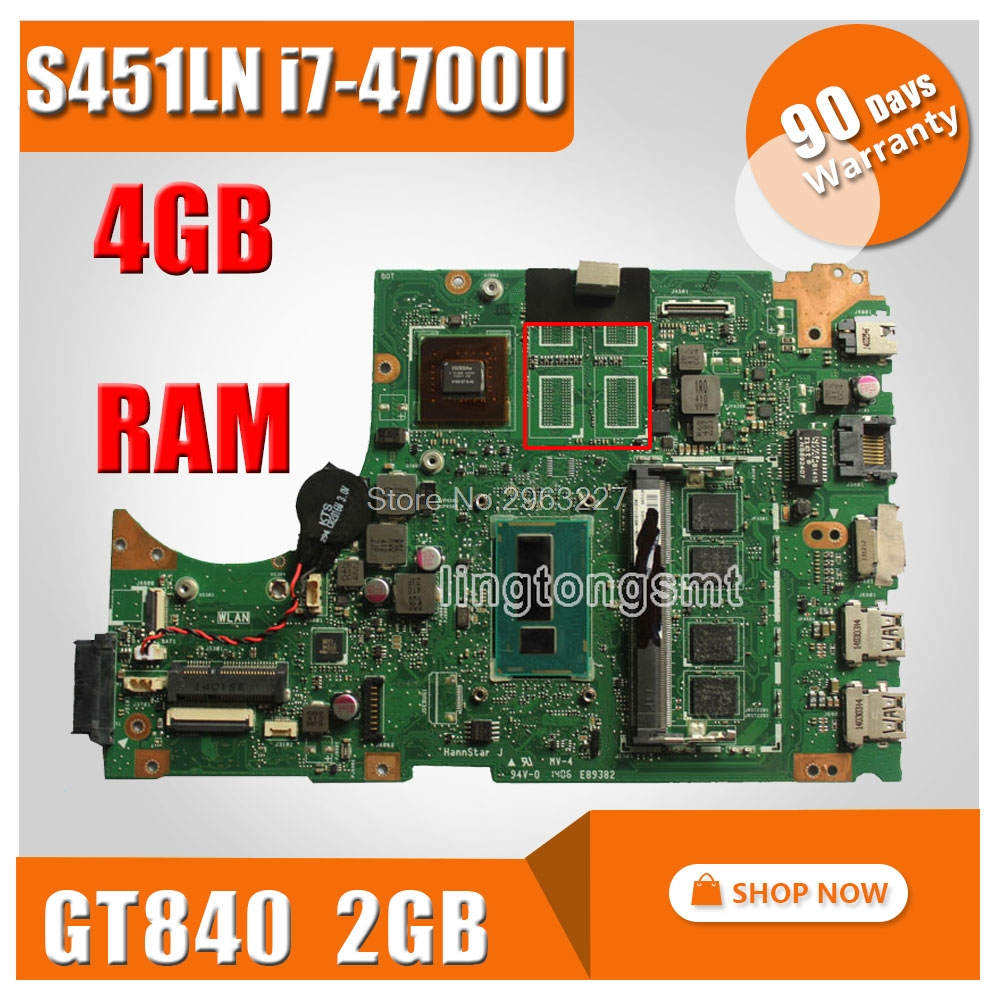 For ASUS S451 S451L V451 V451L S451LN S451LB Laptop motherboard REV2 1 i7 4700u GT840M mainboard