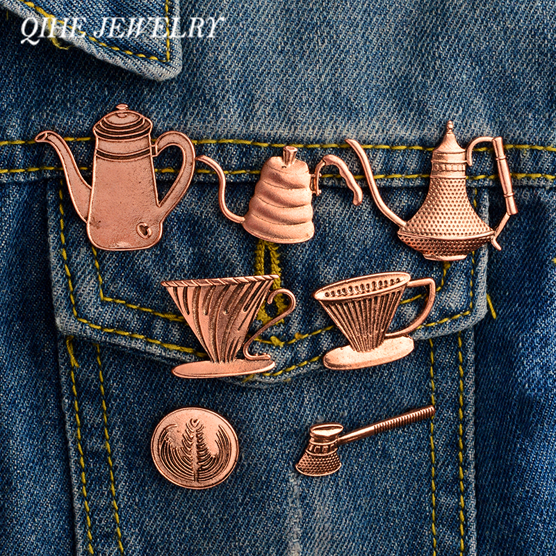 QIHE JEWELRY Rustic copper turkish coffee pot and cup coffee pin Espresso maker pins Badges Brooches Women men unisex jewelry