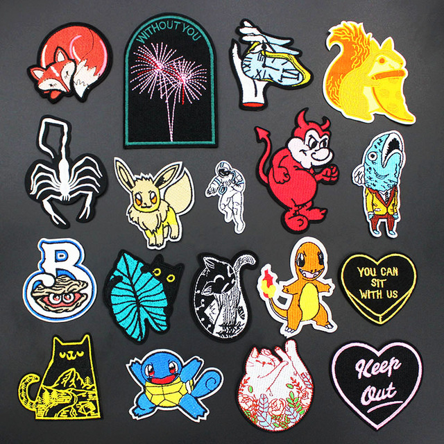 Fashion Anime Cartoon Cats Animals Patches Iron on Badges Arts Embroidery for Women Kids Clothing DIY Jacket Applique