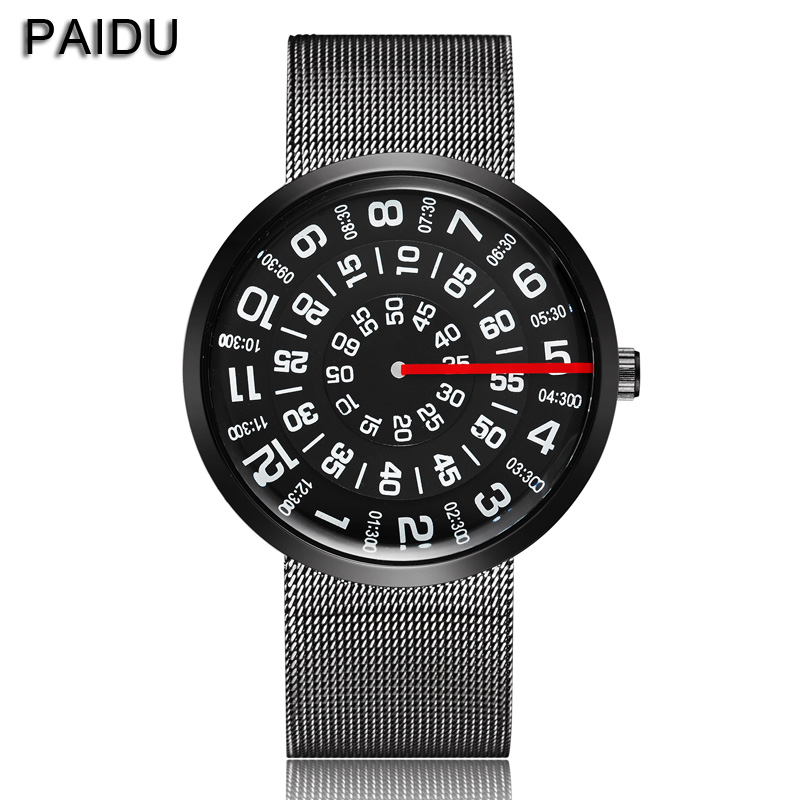 Paidu Fashion Unikalna marka Black Silver Quartz Metal Mesh Band Wrist Watch Mens Boy Turntable Dial Digital Gift Wristwatches