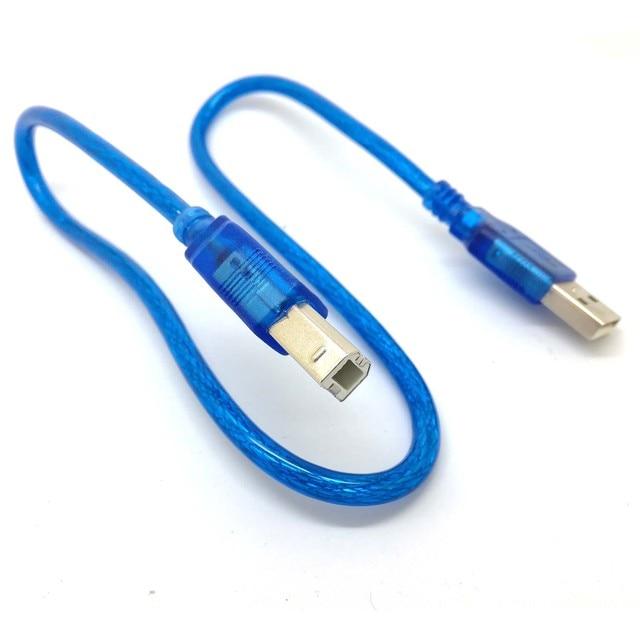 1.5FT 50CM mavi kısa yeni USB yüksek hızlı 2.0 A B erkek kablosu Canon Brother Samsung Hp epson yazıcı kablosu