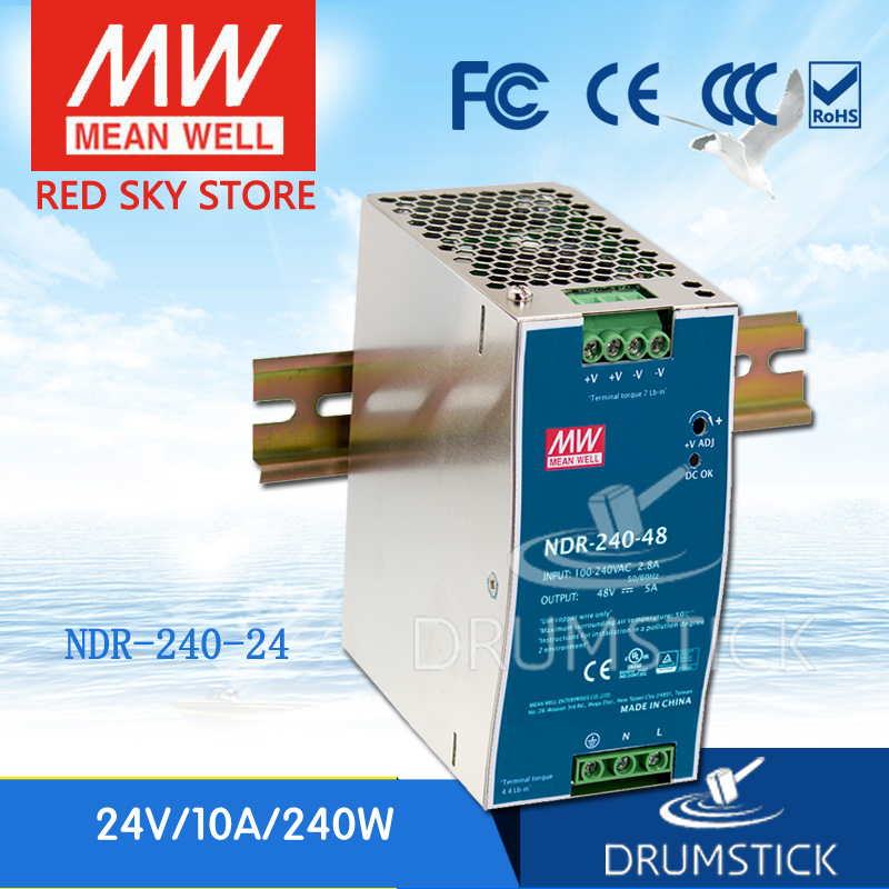 Wholesale price MEAN WELL NDR 240 24 24V 10A meanwell NDR 240 240W Single Output Industrial DIN Rail Power Supply-in Switching Power Supply from Home Improvement    1
