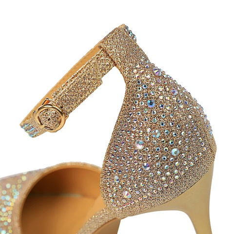 Luxury Crystal Women Pumps High Heels Sexy Ankle Strap Mary Janes OL Shoes Woman Pointed Toe Zapatos Mujer Ladies Wedding Shoes Islamabad