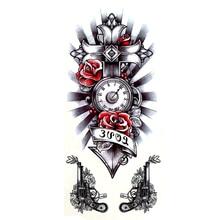 5PCS Revolver Водонепроницаемые временные татуировки Мужские татуировки хны наклейки Искупление креста Поддельные татуировки, временные для женщин