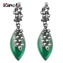 Kinel Leaf Pendant Opal Resin Rhinestone Earrings For Women Vintage Them Antique Silver Plated Fashion Jewelry цена