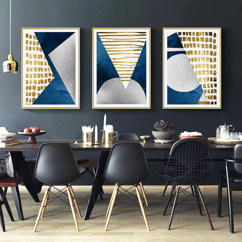 Modern Abstract Blue Gold Moon Oil Painting Geometry Mountain Canvas Poster Art Wall Picture For Living Room Cuadros Decoration