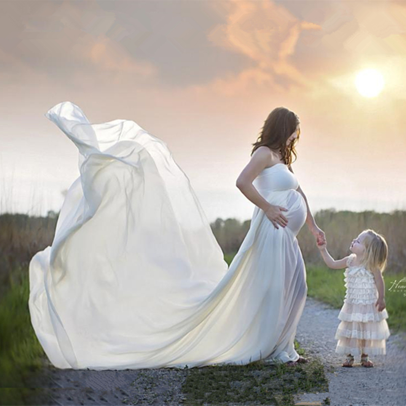 Le Couple Maxi Chiffon Maternity Gown For Photo Shoot Maternity Photography Props Long Dresses Off-the shoulder Maternity Dress