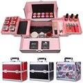 Cosméticos caja de maquillaje profesional cosméticos de gran capacidad de doble / caja de cosméticos de maquillaje varía colores