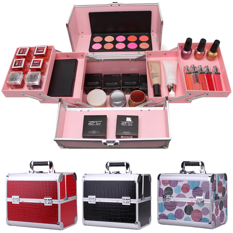 Detail Feedback Questions about Cosmetic bag Professional makeup Box cosmetic bag large capacity double / box cosmetics makeup box varies Colors on ...