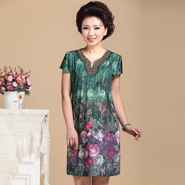 a3213b0a6039 Summer Dresses For Older Women Short Sleeve Fashion One-Piece Dresses  Middle Aged Women Mother Clothing Large Size 5XL