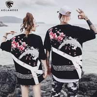 Aolamegs T Shirt Men Japanese Retro Print Men's Tee Shirts O neck T Shirt Fashion Hip Hop Couple High Street Summer Streetwear