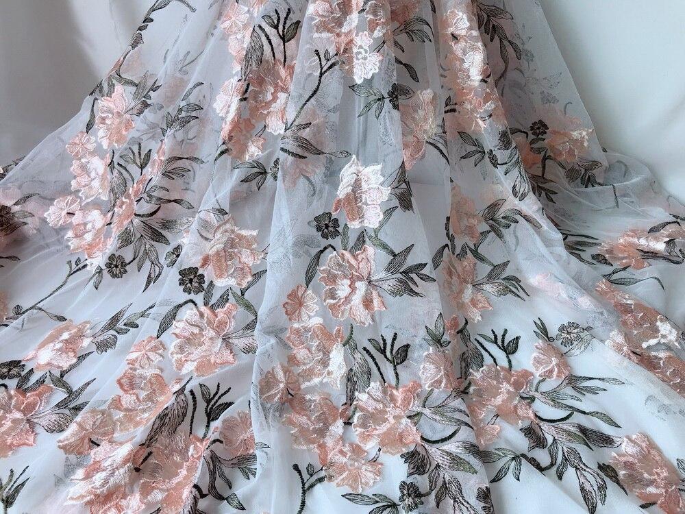 แอฟริกันผ้าลูกไม้ Tulle ผ้าคุณภาพสูง 2019 3D Blossom ปักชุดแต่งงานลูกไม้ผ้า DIY Handmade Craft 3 หลา-ใน ลูกไม้ จาก บ้านและสวน บน   2