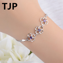TJP Lovely Flower Shaped Women Crystal Bracelets Jewelry 925 Sterling Silver Girl Lady Bangle Accessories Wedding Party Hot
